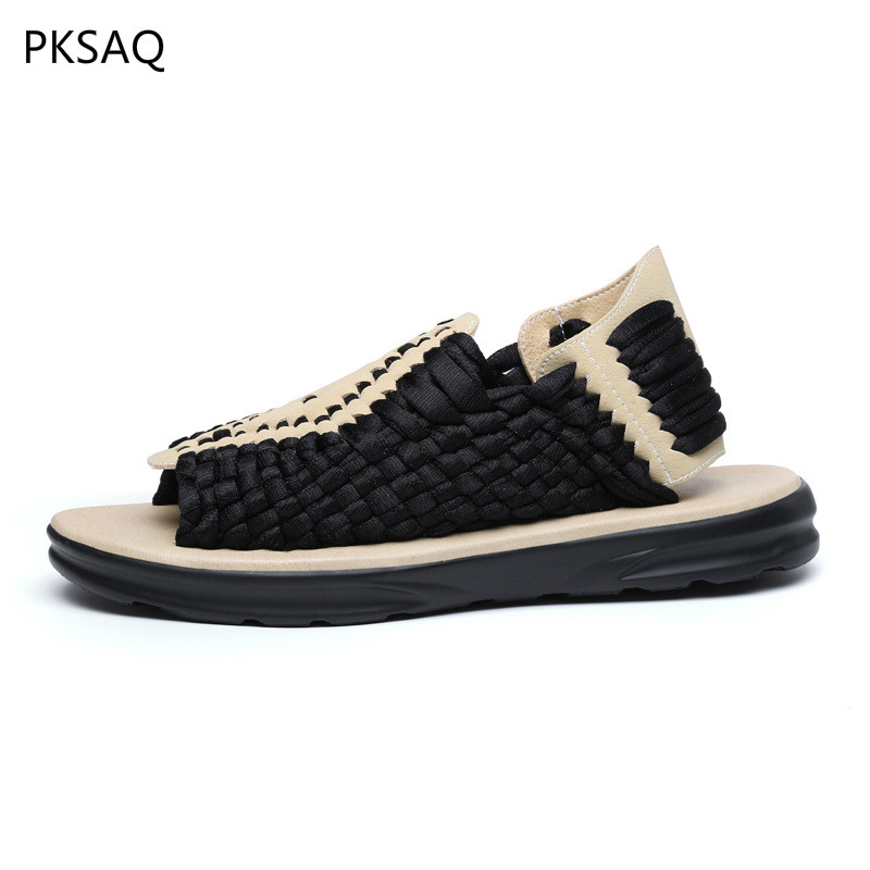 Men Spring Summer New Hollow Out Sandals Shoes Casual Pu Soles Elastic Cloth Rome Style Flat Fashion Shoes B