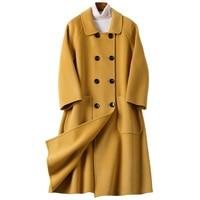 Spring Autumn Coat Female Pink Black Long Wool Coat Women Clothes 2019 Korean Vintage Outwear Jacket Abrigo Mujer 812 ZT2518