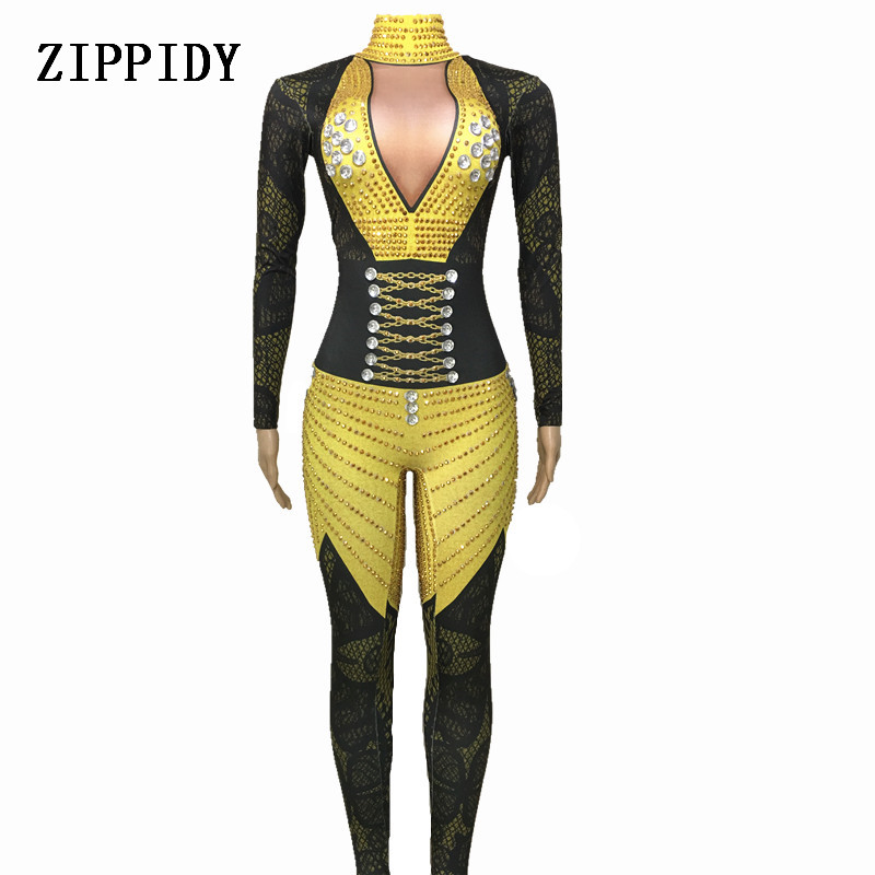 Women s Fashion Rhinestones Bodysuit Stage Outfit Female Singer Black yellow Leggings Nightclub Crystals Costume Dance