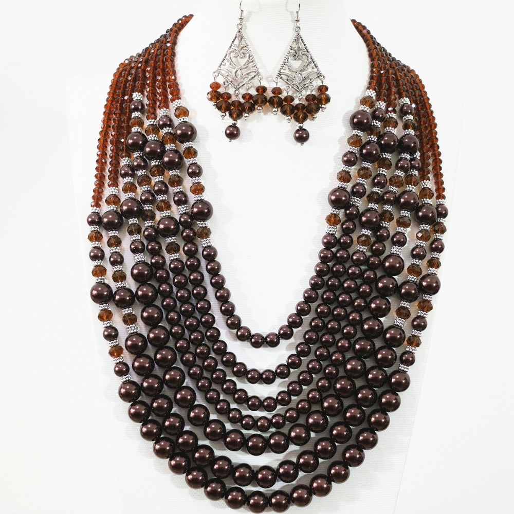Sweat chololate round shell simulated-pearl women fashion 7 rows necklace earrings charms gift jewelry set 19-27.5inch B1309