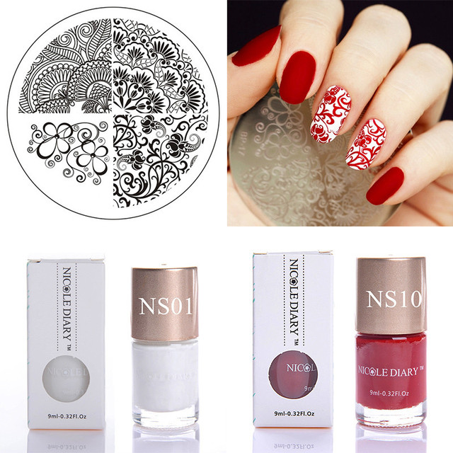 Aliexpress Buy Nail Art Set Floral Stamp Template With Color
