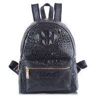 Women Genuine Real Cow Leather Backpack Shoulder Bag Crocodile Alligator School Book Travel Daily Casual Punk