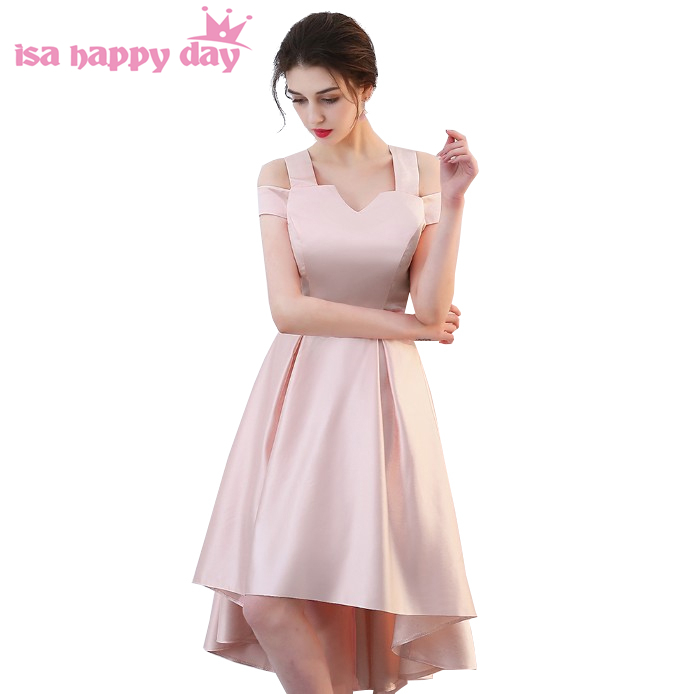 sweet 16 womens pink straps   dresses   short front long back high low beach picture sexy sparkly satin ball   prom     dress   H4259