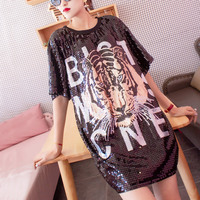 Summer Casual Loose Tiger Sequins Women T shirt Cartoon Pattern Letter Tshirt Hip Hop Style Dance Clothes Ladies