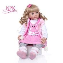 60 CENTÍMETROS bebe reborn boneca da menina da criança boneca cabelo encaracolado longo encaracolado cabelo loiro realista boneca de silicone macio do brinquedo do bebê presente de natal