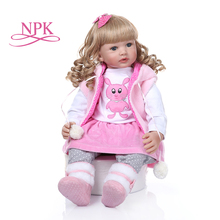 Curly hair 60CM bebe doll reborn toddler girl doll long curly blonde hair doll soft silicone realistic baby  toy Christmas Gift