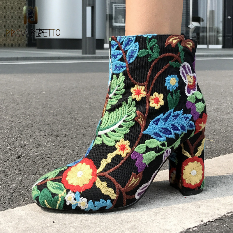 Prova Perfetto Retro Embroider Shoes Woman Boots Fashion Round Toe Ankle Boots Ladies High Heel Short Boots Spring Autumn Boots black blue round toe low heel ankle boots for women ladies spring and autumn short boots fashion boots female dress shoes