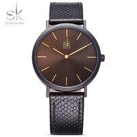 Shengke Fashion Women Watches 2017 Top Luxury Brand Black Leather Wristwatches Woman Quartz Watch Relogio Feminino