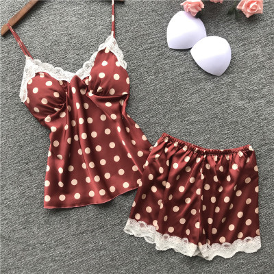 Daeyard Fashion Polka Dot Pajamas for Women Home Clothes Silk Pajama Set Sexy Satin Sleepwear Cute Summer Pyjama with Chest Pads