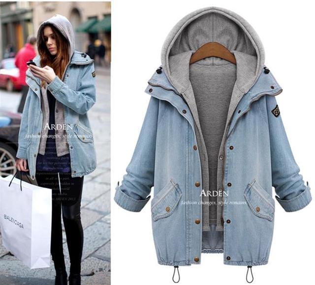 Manteau jean hiver femme
