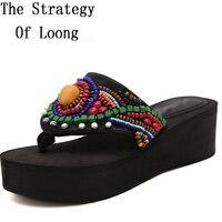Chunky Heel Beading Open The Toe Women Summer Crystal Sandal Shoes Black Lady Rhinestone Flip Flops