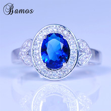 Bamos Fashion Oval Blue Ring 925 Silver Filled Wedding Engag