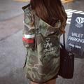 Mulheres jaqueta de 2017 Nova Fêmea Chegada Do Exército Verde Camuflagem Impresso Jaqueta Chaquetas Mujer B3981 Cair Casacos Para Revestimento Das Mulheres