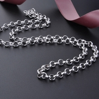 DOYUBO New Men's 925 Sterling Silver Little Round Circle Necklace 50cm Solid Silver Link Chains Jewelry Silver Necklace VG011