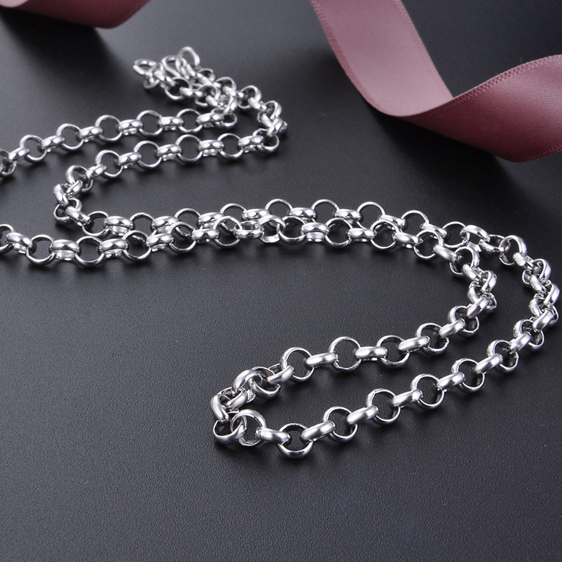 DOYUBO nouveau collier petit cercle rond en argent Sterling 925 pour hommes 50 cm chaînes à maillons en argent massif bijoux collier en argent VG011