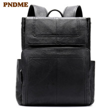 Simple outdoor large capacity casual black lightweight leather backpacks for men and women