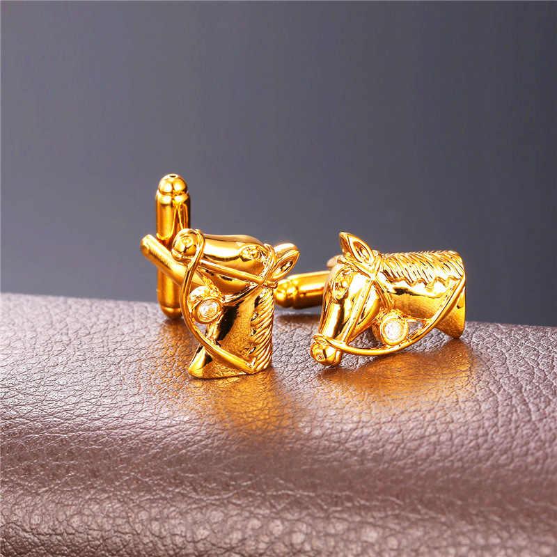 Yellow Gold/Bạc Màu Cufflinks Cho Mens Head của Con Ngựa Hình Dạng Cuff Liên Kết Chất Lượng Cao Đàn Ông Sức Sỉ Cuff liên kết C307