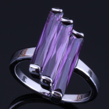 Super Rectangle Purple Cubic Zirconia 925 Sterling Silver Ring For Women V0431