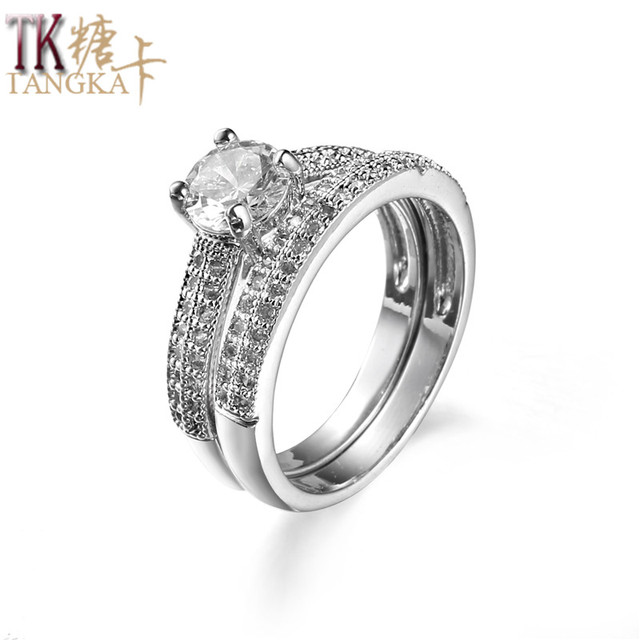 Tangka Verkaufe Arbeiten Paar Ringe Zirkon Herren Frauen