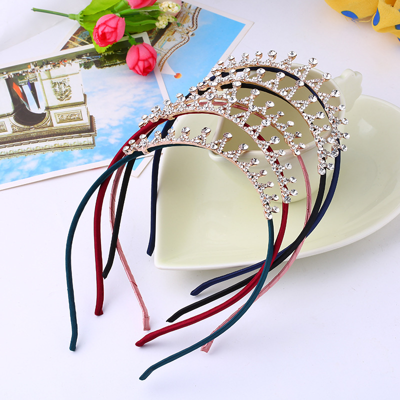 1 Pc Baby Rhinestone Crown Headband Girls Princess Crystal Crown Diamond Hairband Women   Headwear   Kid Hair Band Accessories