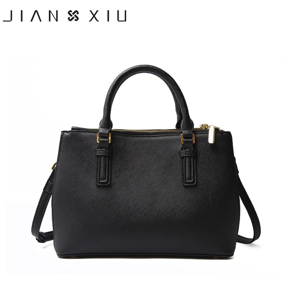 JIANXIU marca de cuero genuino bolso de mano de lujo Bolsos De Mujer diseñador de alta calidad de textura cruzada bolso de hombro 2018 grande-in Bolsos de hombro from Maletas y bolsas    2