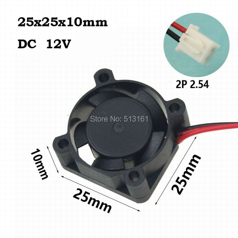 Купить с кэшбэком 5Pcs Gdstime Ball Bearing 25x25x10mm 2510 25mm DC 12V XH2.54-2Pin Mini Brushless Cooling Fan