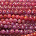 "Discount Wholesale Natural Genuine Red Ruby Round Loose Stone Beads 3-18mm Fit Jewelry DIY Necklaces or Bracelets 15"" 03822"