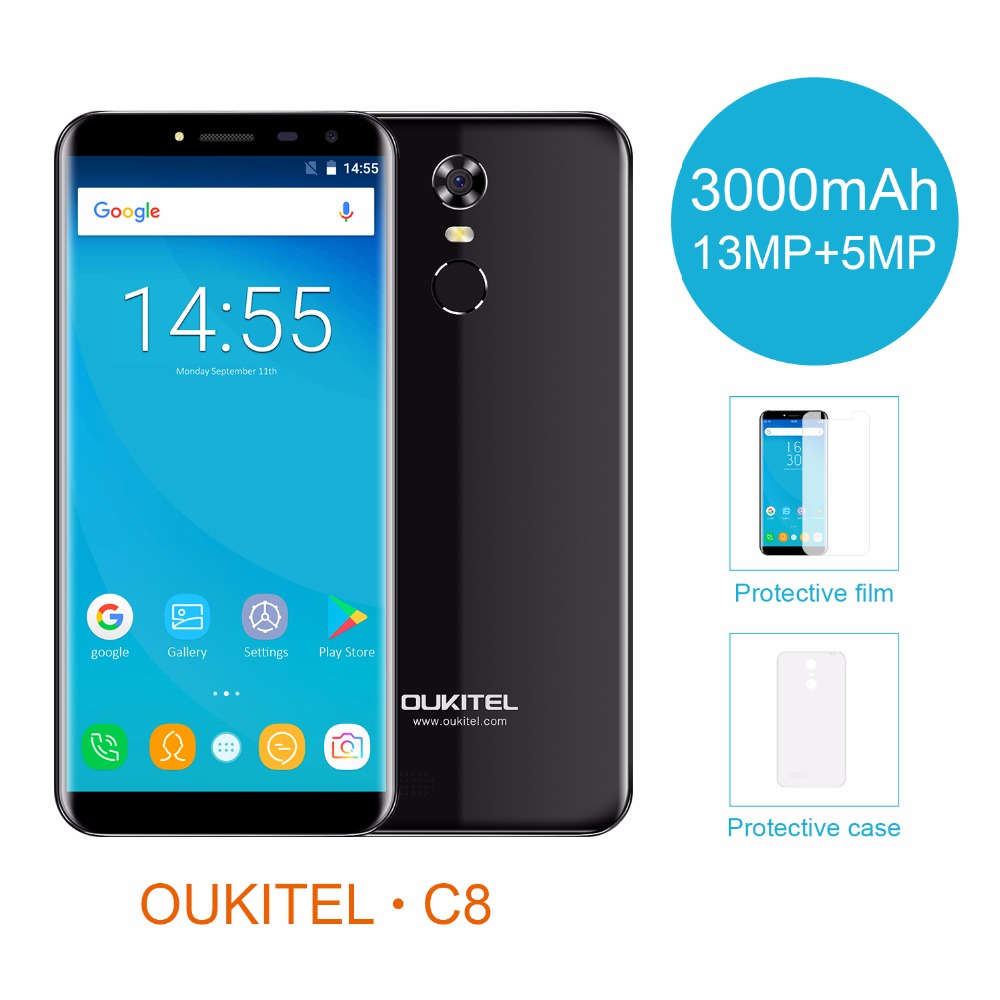 Oukitel C8 5.5 18:9 Infinity Display Android 7.0 MTK6580A Quad Core Smartphone 2G RAM 16G ROM 3000mAh Fingerprint Mobile Phone  - buy with discount