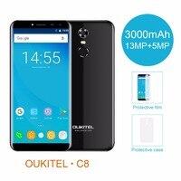 Oukitel C8 5.5 18:9 Infinity Display Android 7.0 MTK6580A Quad Core Smartphone 2G RAM 16G ROM 3000mAh Fingerprint Mobile Phone