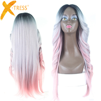 Ombre Pink Blonde Color Lace Part Synthetic Hair Wigs With Bangs Middle/Side Part X TRESS Long Straight Lace Wig For Black Women