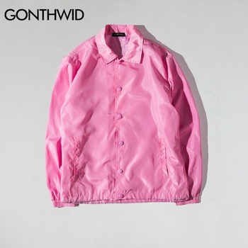 GONTHWID Purpose Tour Coaches Jackets Mens Hip Hop Solid Color Thin Coats Jacket Male Fashion Casual Windbreaker Streetwear