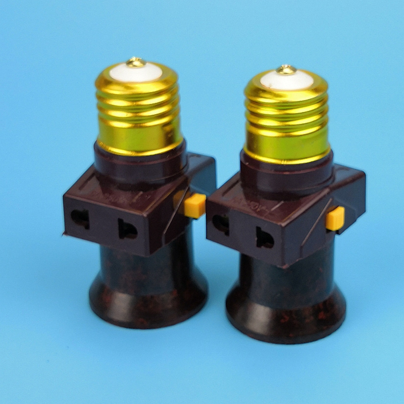 2pcs E27 Socket With Switch Vintage Lamp Holder Socket Splitter Lamp Base Led Bulb Lampholder Lighting Accessories 110V-240V(China)