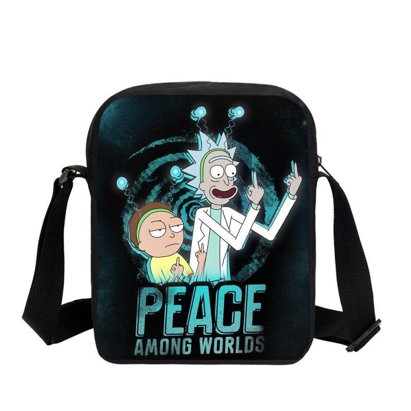 Rick And Morty 3D Anime Science Cartoon Boys Girls Small Shoulder Bags Student Crossbody Messenger Bag Casual Book School Bag