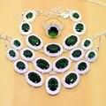 Criado verde Esmeralda Conjuntos de Jóias de Prata Esterlina 925 Para As Mulheres Brincos/Pingente/Colar/Anéis/Pulseiras Grátis Caixa de presentes T024