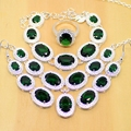 Green Created Emerald 925 Sterling Silver Jewelry Sets For Women Earrings/Pendant/Necklace/Rings/Bracelets Free Gifts Box T024