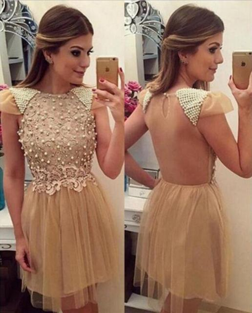 d8d65f064b5 Tulle Champagne A-Line Homecoming Dresses 2017 Scoop Neck Short Sleeves  Beaded Appliques Sheer Back