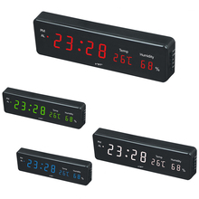 EU/US plug power supply Clock electronic led digital Alarm clock with Temp and Humidity home glowing led clock 12/24 hour clock