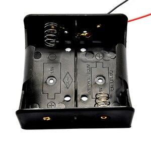 Image 1 - 1PCS Draht Leaded Batterie Halter Fall Box Ohne Abdeckung Für 2 x D Größe 3V Batterien 75,3x75,6x35,1 MM