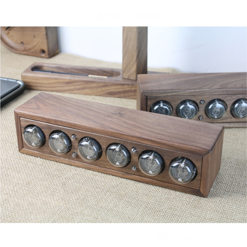 Image 2 - Glow digital electronic tube clock black walnut solid wood digital QS30 SZ8 digital tube DIY Retro with Remote controller-in Integrated Circuits from Electronic Components & Supplies