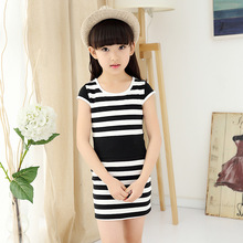 Girls Summer New Children's Clothing Korean Cotton Stripe Short Sleeve Dress Kids Clothing Black Dark Blue Rose Red