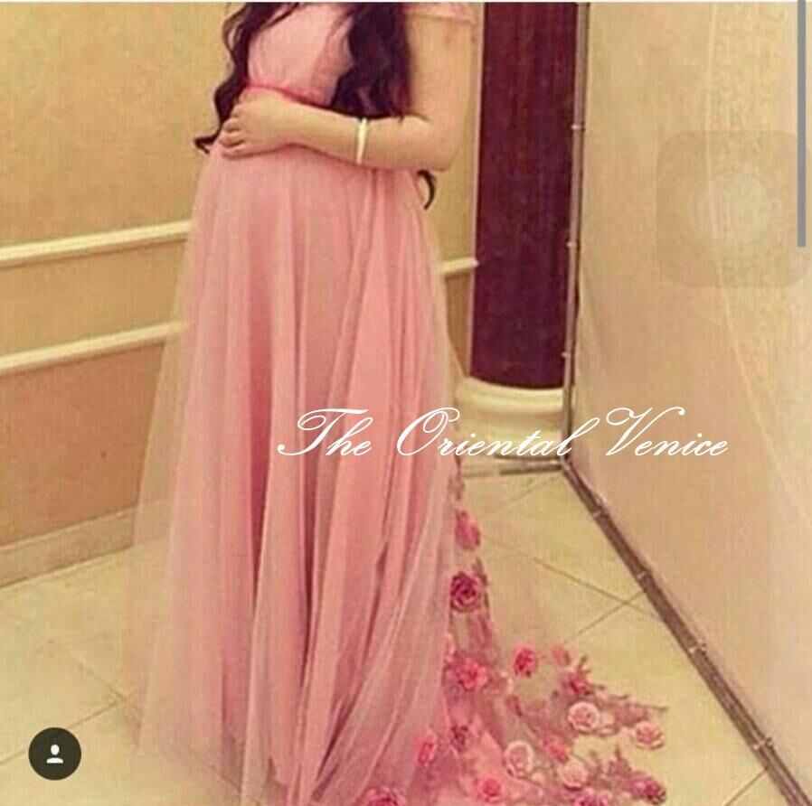 Maternity prom dress prom dress for pregant women - Casamento 2017 Saudi Arabia Maternity Evening Dress For Pregnant Women Prom Dresses With Sleeves Handmade Flower