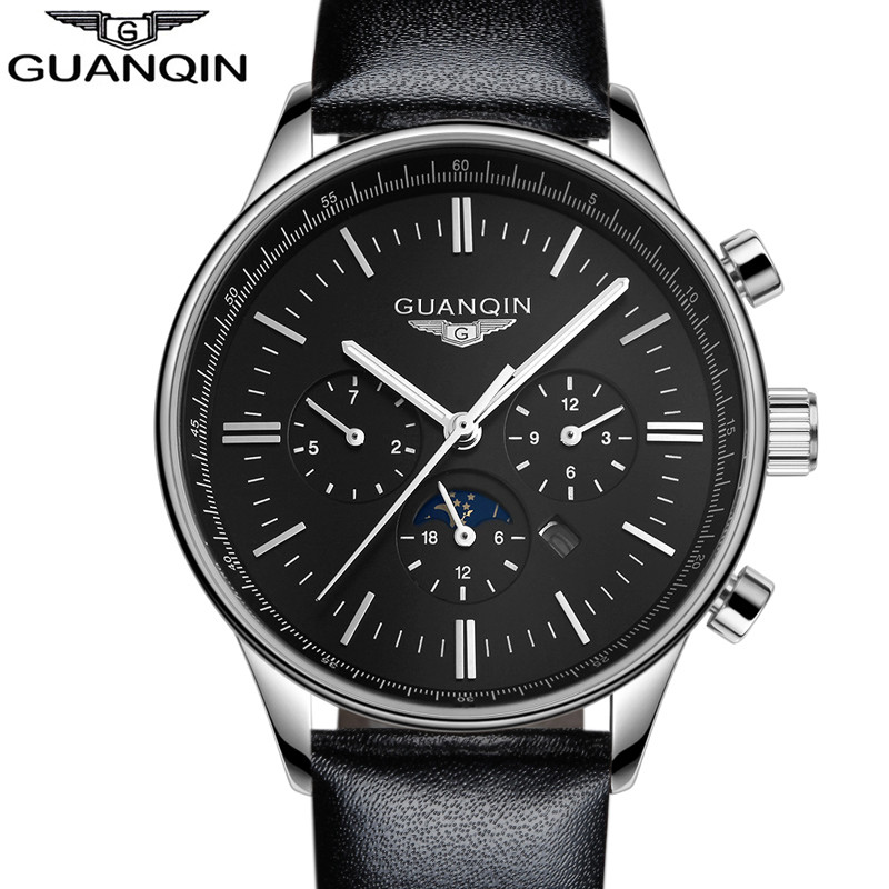 ФОТО Men's watch luxury brand top brand GUANQIN new fashion men's large dial design quartz waterproof watch men's watch relogio mascu