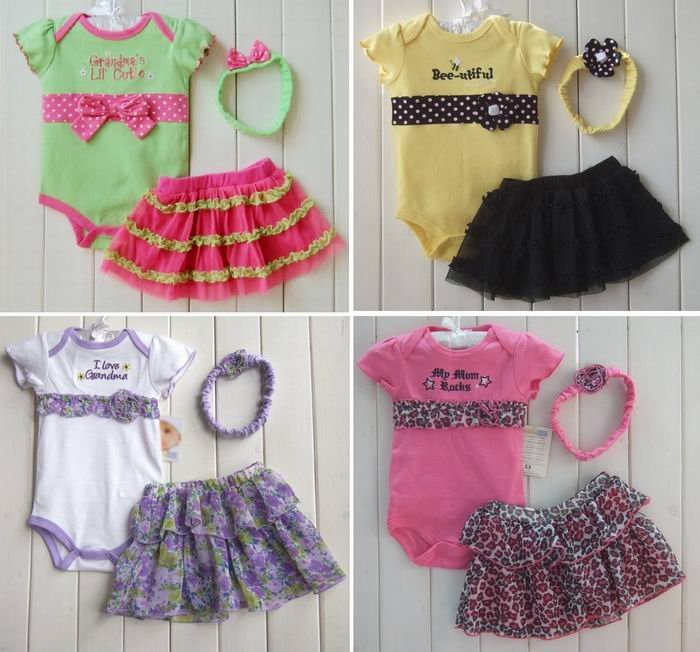 free shipping 2013 female childrens clothing set for summer,baby clothes baby bodysuit romper +chiffon skirt +headband set ...