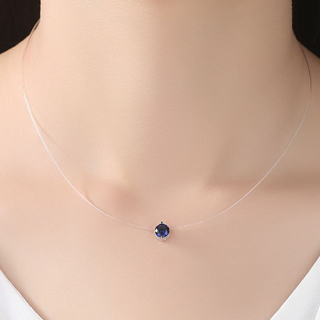 Necklace Cubic Zirconia Blue Crystal Necklace for Women Wedding Jewelry Gift