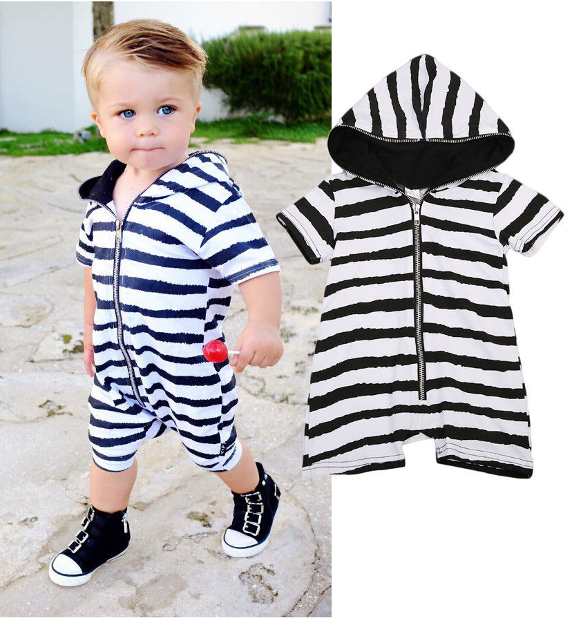Newborn Infant Baby Boys Girls Hooded Romper Jumpsuit Clothes romper baby clothes baby boy clothes Outfits newborn infant baby boy girl clothing cute hooded clothes romper long sleeve striped jumpsuit baby boys outfit