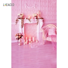 Laeacco Indoor Fireplace Candles Curtain Chair Baby Photography Backdrops Props Vinyl Custom Photo Backgrounds For Studio