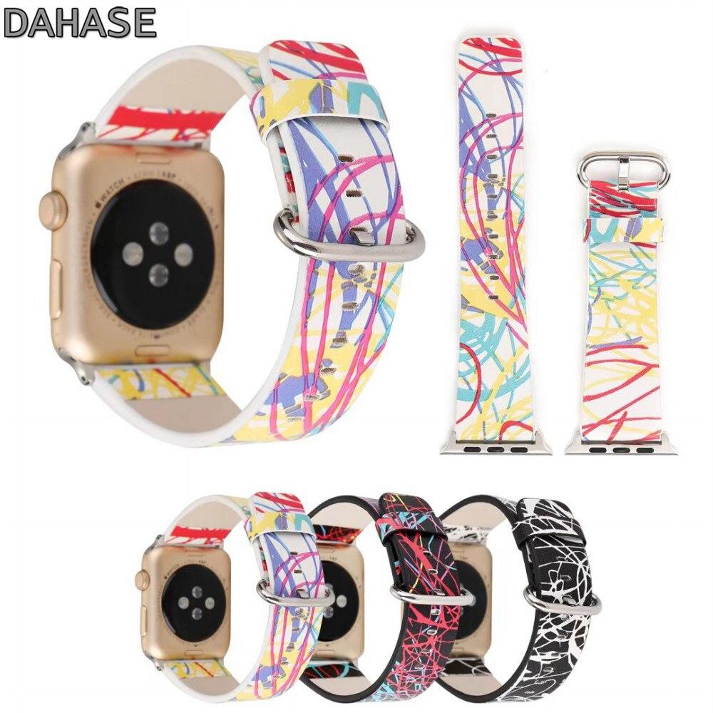 Dahase Красочный Полосатый кожаный ремень для Apple Watch Band металлической пряжкой wistband для iwatch 42 мм 38 мм серии 1/2 браслет