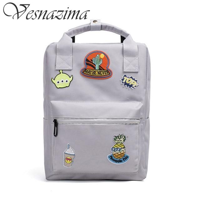 35a576fabc badge school bags cartoon backpacks for girls pink printing backpack  orthopedic top-handle school bag mint green gray black pink
