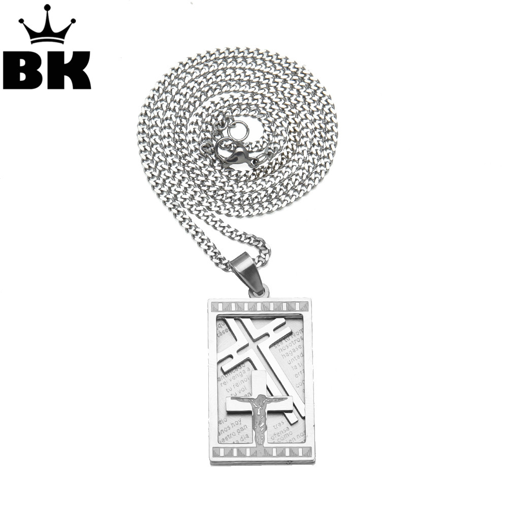 THE BLING KING Stainless Steel Dog Tags Cross Necklace for Men Lord's Prayer Pendant for Mens 3mm 24inch Cuban Chain