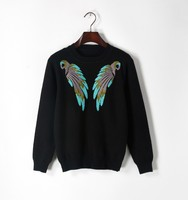 High Quality Runway Women S Sweaters Embroidery Two Birds Thick Casual Feminine Slim Sweater Casual Pullover